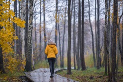 Young woman in yellow warm jacket slowly walking on wet wooden trail at natural park in rainy cold autumn evening. Spending time alone in nature. Peaceful atmosphere. Back view.