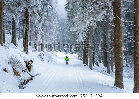 Young woman is cross-country skiing. Active winter. Active recreation. Amateur sport. #756171394