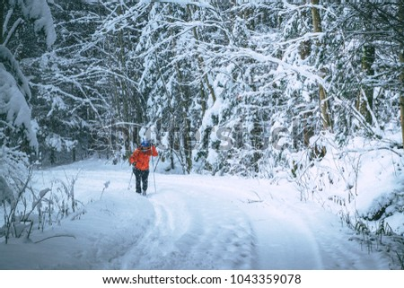 Young woman is cross-country skiing while snowing. Active winter. Active recreation. Active life. #1043359078