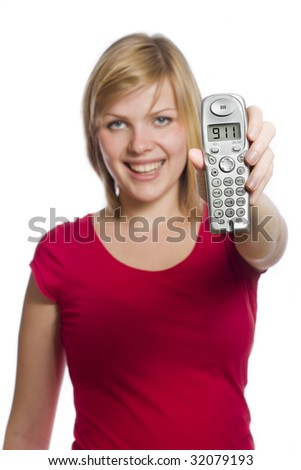 Young woman is holding phone to the camera the display shows 911