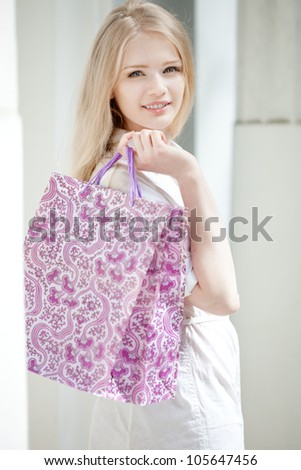 Young woman is shopping