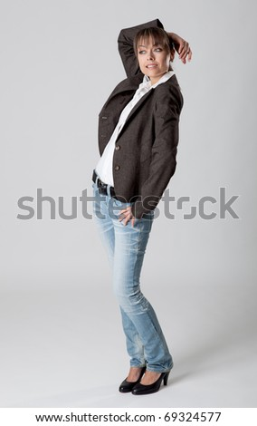 Young woman is standing still