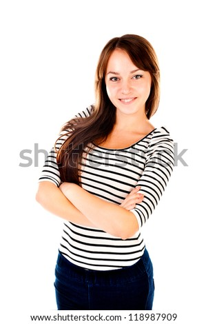 young woman isolated on a white background