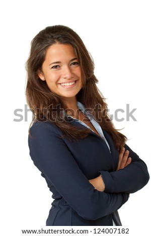 young woman, isolated on white background - stock photo
