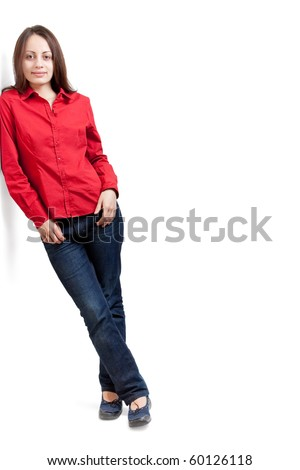 Young woman leaning against something, on a white background