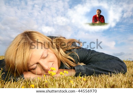 young woman lies on the grass and boy in dream cloud collage