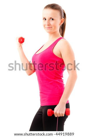 Young woman lifting dumbbells. Isolated over white - stock photo