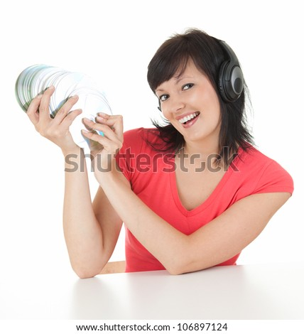 young woman listening to music, white background