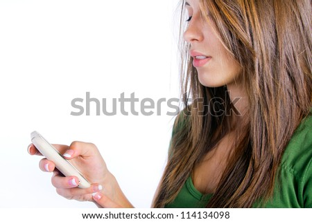 Young woman looking at his mobile phone