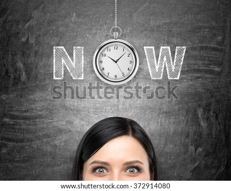young woman looking in front of her and tthinking about present opportunities and time. A pocket watch and the word 'now' over her head. Black background. Front view. Concept of present moment.