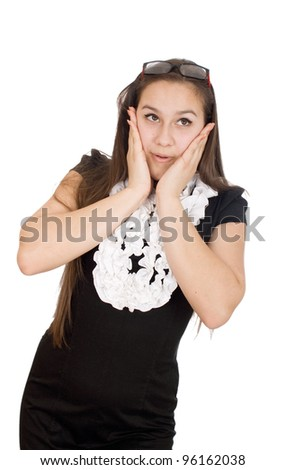 Young woman looks totally and completely surprised. She just found out something that was absolutely unbelievable. - stock photo