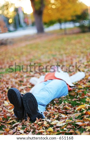 Young woman lying down and taking a break