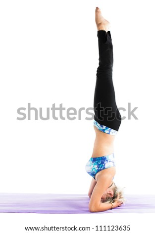 young woman make  fitness exercise on isolated white background . The concept of Sport and Health