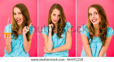 Young woman making funny faces
