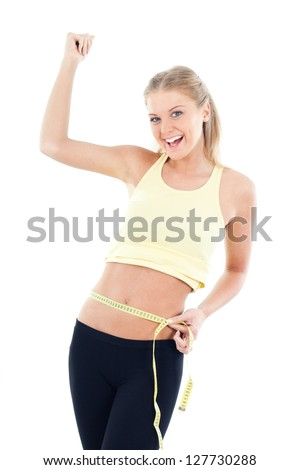 Young woman measuring belly after diet,Result after diet