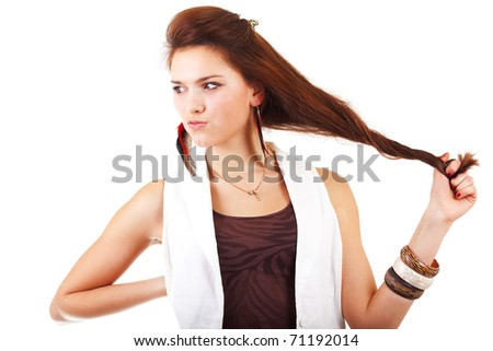Young woman near nervous breakdown on white background