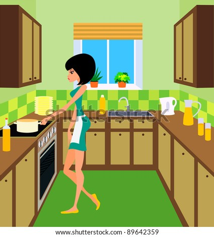 Young woman on kitchen.  Raster illustration