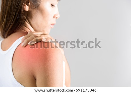 Young woman pain right shoulder #691173046