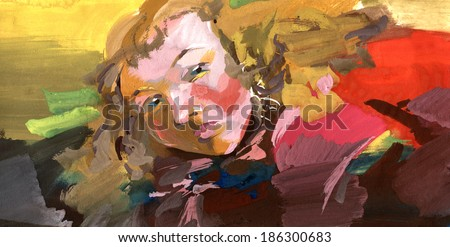 Young woman painting portrait