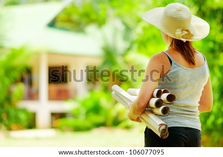 Young woman  planning  work at outdoor.