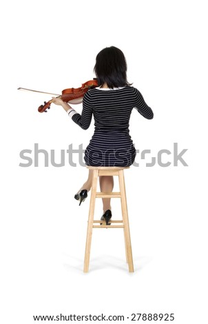 Stock Photo Young woman playing on a violin and seducing isolated over white