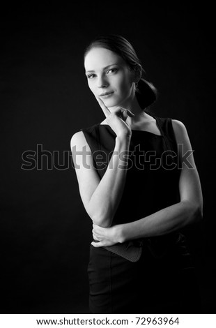Young woman portrait black and white
