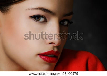 young woman portrait, dark background