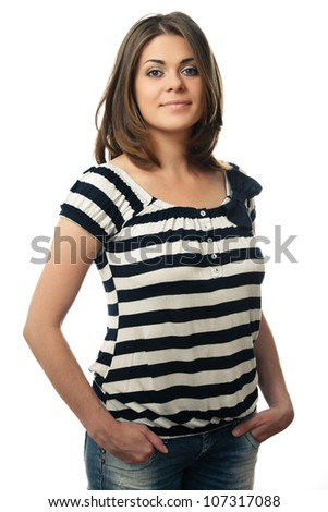 Young woman portrait isolated on white background