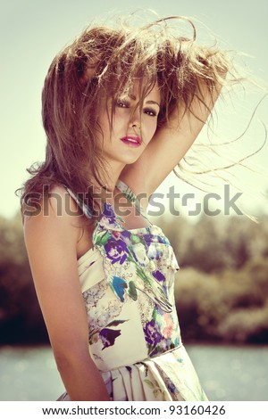 young woman portrait on a hot summer day afternoon