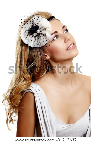wearing beautiful vintage wedding headband on long curly hair and