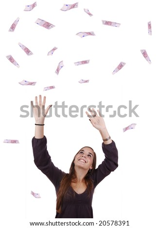 Young woman portraying a successful business woman with a lot of money