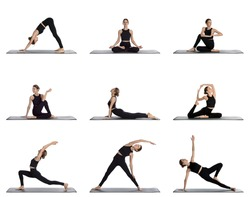 Young woman practicing yoga on white background, collage