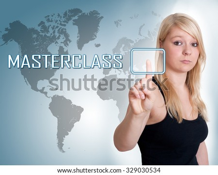 Young woman press digital Masterclass button on interface in front of her #329030534