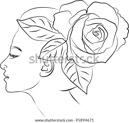 young woman profile, rose flower spring - freehand on white background