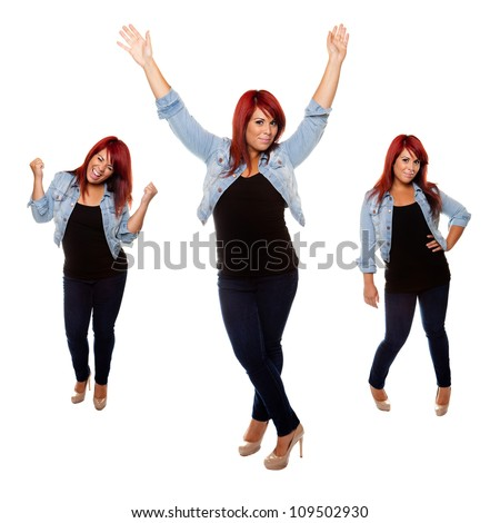 Young woman proudly shows off her physique after weight loss isolated on a white background.