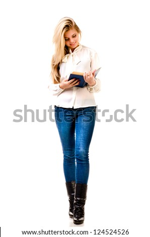 young woman reading book isolated on a white background