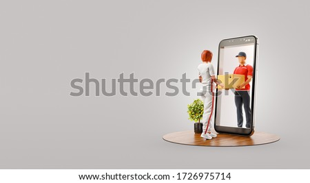 Young woman receiving parcel from delivery service courier through smart phone screen. Delivery and post apps concept. Unusual 3d illustration