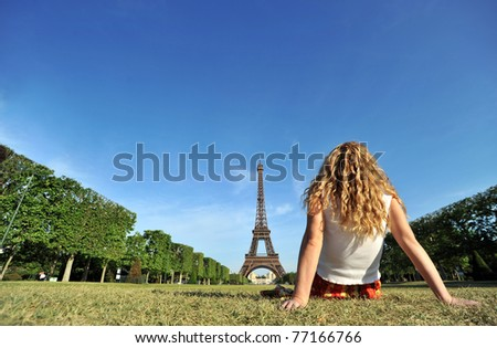 Young woman relaxing in Paris.
