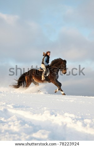 Young woman riding Latvian horse breed.
