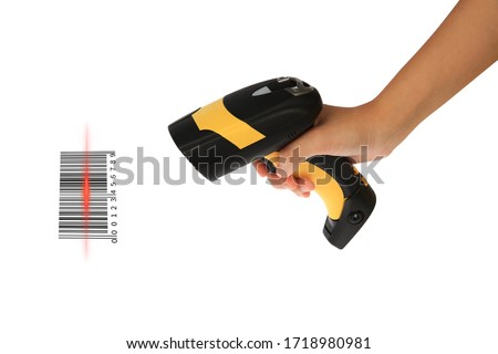Photo of  Young woman's hand hold Barcode Scanner for stock receiver