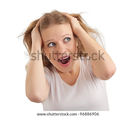 young woman scared, grabbed hands behind her head, experiencing stress and fear  isolated on a white background