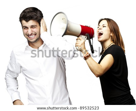 young woman screaming a man with the megaphone over white