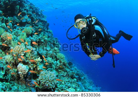 Young Woman Scuba Diver explores a Coral Reef in the Red Sea #85330306