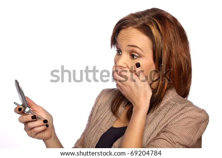 young woman shocked at something on her phone