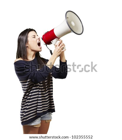 young woman shouting with a megaphone against a white background - stock photo