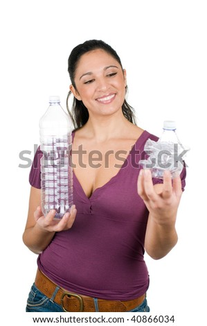 Young woman show a compressed plastic bottle ready to recycle isolated on white background
