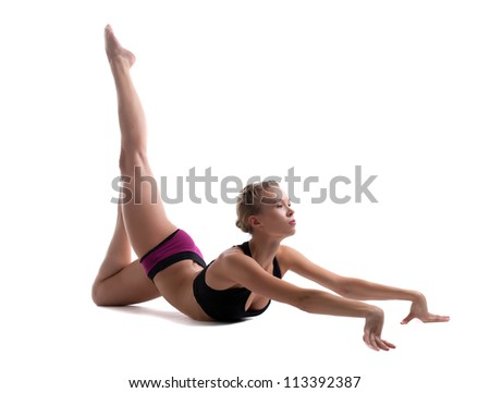 young woman show perfect stretch isolated