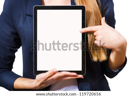 Young woman showing a tablet PC, a close-up on a white background.