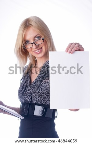 Young woman showing blank sheet of paper at isolated background