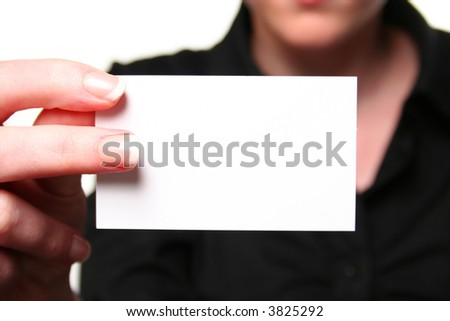 young woman showing businesscard